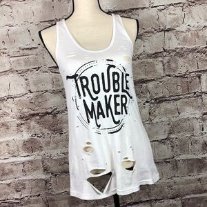 Troublemaker Distressed Graphic A-line Tank Tee